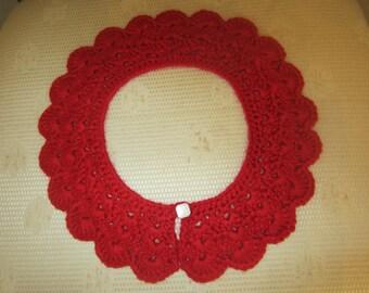 Red Crochet Detachable Lace Collar