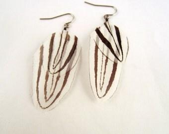 Natural Feather Earrings Flying Zebra