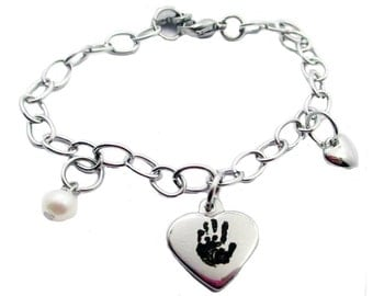 Hand Print Heart Charm Bracelet with your baby's actual hand prints, stainless steel