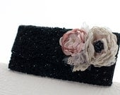 Fromal black clutch, beaded vintage clutch purse with flowers, bridal clutch handbag, wedding clutch black, blush, gray, grey, ivory