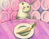 Original ACEO Painting -- Bunny dinner