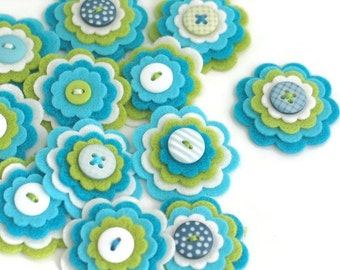 KATIE x 3 Felt Flower Embellishments, Handmade Felt Applique, Felt Hair Clip Flower, Scrapbook Flowers, Journal Card Embellishments
