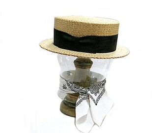 Straw Boater Mens Hat Stetson Vintage Skimmer Summer Weight Black Ribbon