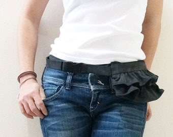 New Year SALE - 20% OFF Mini Gathered Waist Purse in Pre-Washed Black / Fanny Pack / Hip Bag / Waist Pouch / Women / Kids / For Her