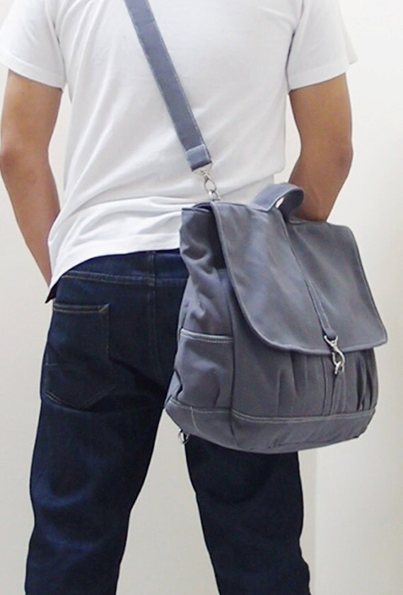 Back To School SALE - 20% OFF Maxx in Gray / Backpack / Satchel / Rucksack / Messenger / Men / Women / Laptop / For Him / For Her / Gift