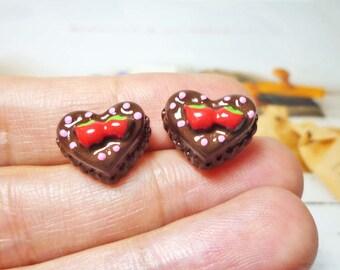 SALE - Sweet Choco Heart Cake Stud Earrings