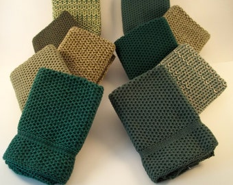 Dishcloths Knit in Cotton in a Green Bundle