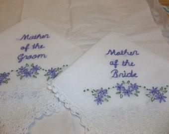 Mother of bride, mother of groom,wedding handkerchief, hand embroidered, wedding colors welcome, wedding favor