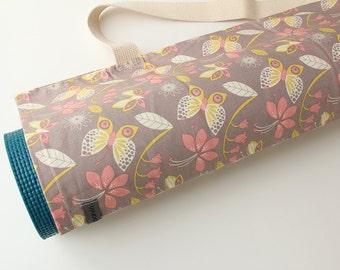 Handmade Yoga Mat Bag, Yoga Mat Carrier, Yoga Mat Sack, Kids, Butterflies, Pink, Yellow