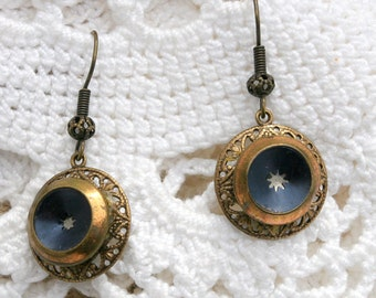 Antique Victorian Button Earrings - Blue Screen Star and Brass Frame Setting