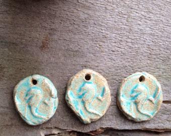 Handmade Sea Blue Beachy Ceramic and Pottery Mini Seahorse Clay Pendants/RTC Pottery/Carrie Wainwright Designs