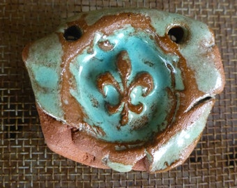 Artisan Turquoise Terra Cotta Rustic Cowgirl Boho Fleur De Lis Handmade Ceramic Clay Pendant RTC Pottery/Carrie Wainwright Designs