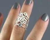 Custom Initial Ring, Stack Ring, Midi Ring, Silver Stack Ring, Initial Ring, Stack Band, Choice Of 1 Personalized Ring