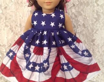 "Flag Border * Doll Dress fits 15"" - 18"" American Girl or Bitty Baby - sewnbyrachel"