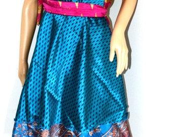 Wrap Around Silk Sari Skirt, Reversible skirts, aqua Skirt,Gypsy Skirt, Indian wrap skirt,Magic skirt,bohemian skirt,silk skirt,sari wrap