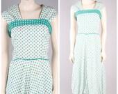 vintage 1940s seersucker dress aqua turquoise & white polka dot cotton sun summer dress size medium large
