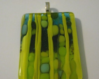 Yellow ,Green and Blue  Fused Glass Pendant