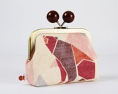 Metal frame coin purse with color bobble - Origami bear in grey and red - Color dad / Japanese fabric / Geometric / Burgundy orange eggplant