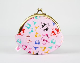 Metal frame coin purse - Bikini - Daddy rounded purse / Summer holidays / Beach / pink red black blue emerald green / Cute bikinis