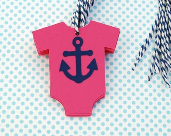 pink nautical theme baby shower onesie with navy anchor baby girl set of 12 navy white bakers twine thank you tag wish tag