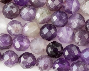Amethyst 10mm Faceted Round Beads- 8 inch strand