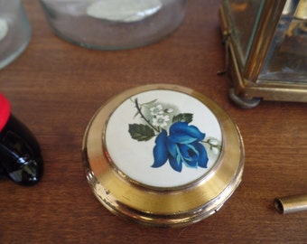Vintage 1920's Porcelain & Metal Flower Makeup Powder Pocket Compact with Mirror