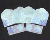 SALE - Winter Snowflakes Christmas Mini Elegant Envelopes, Inserts and Envelope Seals (4) CEMN10 / Ready To Ship