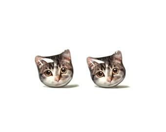 Sweet Little Tabby Cat Kitten Stud Earrings - A025ER-C41  Made To Order
