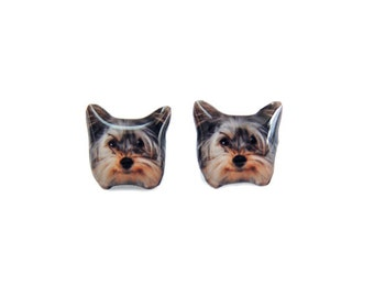Long-haired Yorkshire Terrier Dog Stud Earrings - A025ER-D20 Made To Order