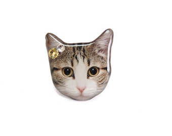Big Eye Tabby Cat Kitten Ring / Cat Ring / Cat Jewelry / Cat Lover / Animal Ring / Cat face / memorial / gift / Big Ring /  A0010-R C32