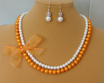BRIDESMAID GIFT Ivory & Burnt Orange Two Strand Pearl BRIDAL WEDDing Mother Of Bride HALLOween Maid Of Honor Necklace Set By DYEnamite