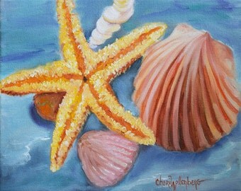 Seashells And Rocks #5, Still Life Painting, Original Oil on Canvas by Cheri Wollenberg
