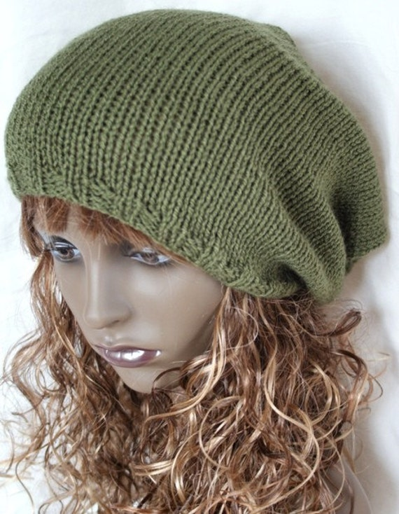 Slouchy Beanie Hat, Knitted Skater Hat, ,  Khaki Unisex, Slouch, Slouchie Oversized Dreads
