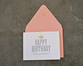 Happy Birthday Little Princess Greeting Card With Gold Foil Accent