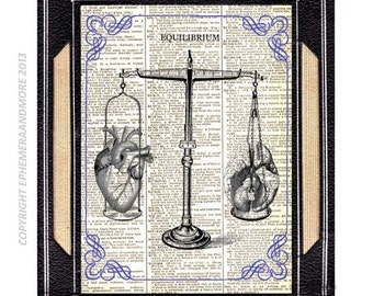 EQUILIBRIUM HEART BRAIN balance art print wall decor Libra Illustration anatomical anatomy doctor on vintage dictionary text book page 8x10