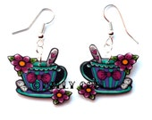 Teacup Earrings by Dolly Cool Tattoo Style with tea spoon, flowers and sugar lumps