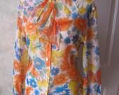Vintage midcentury sheer flowers nylon blouse, bow neck flowered blouse, tie neck flowers blouse, turquoise orange yellow flower top sz L