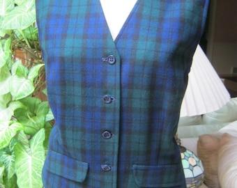 Vintage preppy plaid Pendleton wool vest, green navy blue plaid wool vest, lined wool glen plaid pure virgin wool vest, size 14 plaid vest