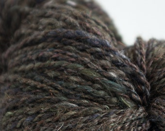 Fairy Dust, Merino, Alpaca, Bronze angelina,Silk, BFL, Hand Dyed Yarn, Heavy Worsted 255 yards,