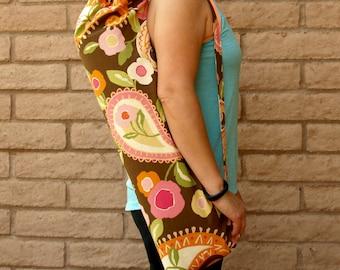 Yoga Mat Bag, Yoga Mat Tote, Yoga Bag, Yoga Tote, Yoga Sling, Yoga Sac, Yoga Sack, handmade in brown floral NATURE