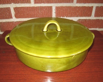 Vintage Mid Century Modern Large Covered California Pottery Green Casserole