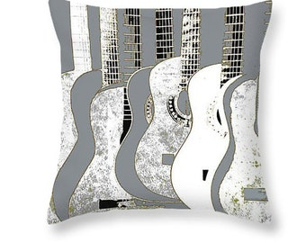 Guitar Art Pillow, Gray And White, Stringed Music Instrument, Throw Pillow,Decorative Dorm Cabin Home Decor, Musician Gift, Abstract Realism