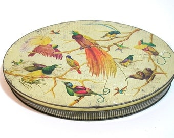 Oval Tin Box With Birds
