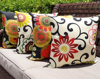 Floral Outdoor Pillows, Pom Pom Jewel Red and Crosby Blackout Floral Outdoor Throw Pillows in Red, Black, Citrine, Green, Orange - Set of 4