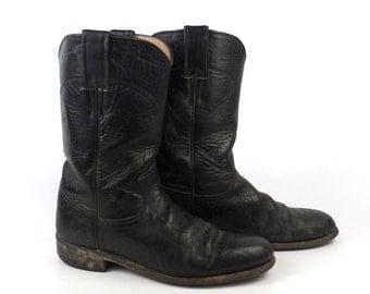 Black Cowboy Boots Vintage 1980s Justin Roper Women's size 6 1/2 B