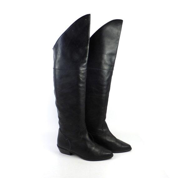 otk boots vintage 1980s flat black by purevintageclothing