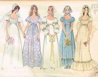 Wedding Gown Evening bridesmaid dress Vintage 1970s Simplicity 9825 Sewing Pattern Size 8 Bust 31.5 Flutter Juliet Sleeves Scoop Neckline