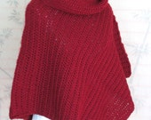 Womens Poncho Red Wine Crochet Cowl Neck Poncho
