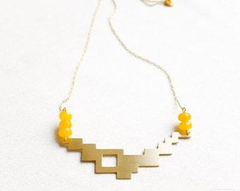 Geometric necklace - yellow agate - pixel - geometric jewelry - geometric pendant - brass jewelry - modern jewelry
