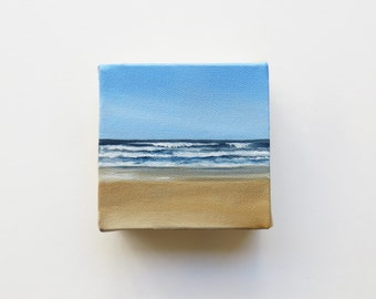 original mini oil painting of the beach and sea with waves